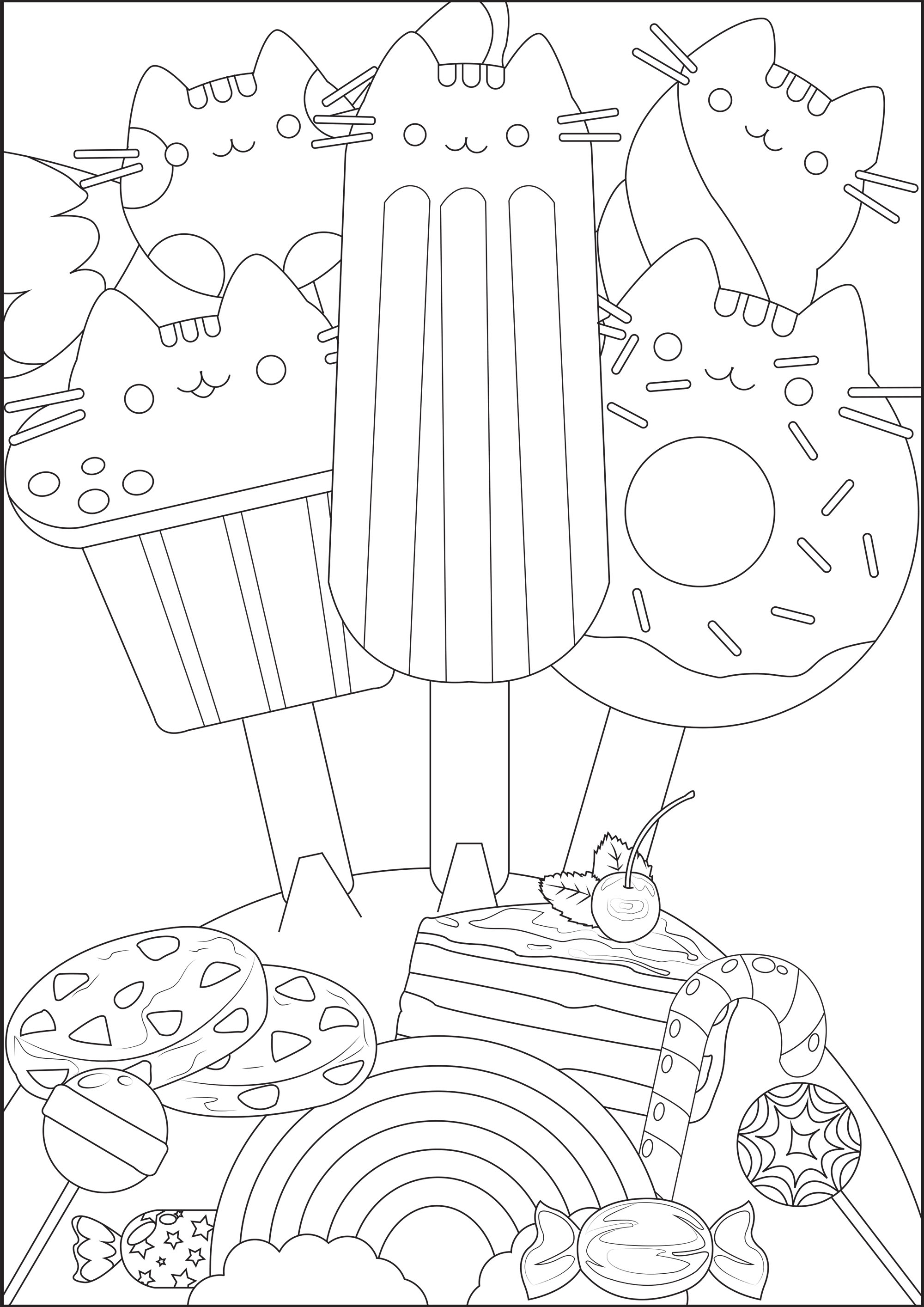 Coloriage Gateau Bonbon.Bouquet De Pusheen Sucre Doodles Coloriages Difficiles Pour Adultes