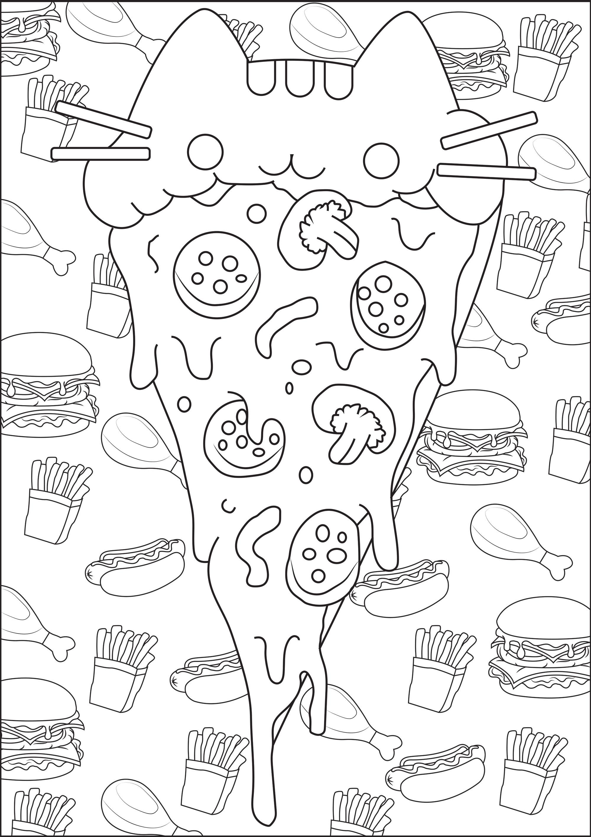 Une part de pizza avec une tête de Pusheen, sur un fond composé de frites et burgers ... De la Mal-bouffe mais trop mignonne :)