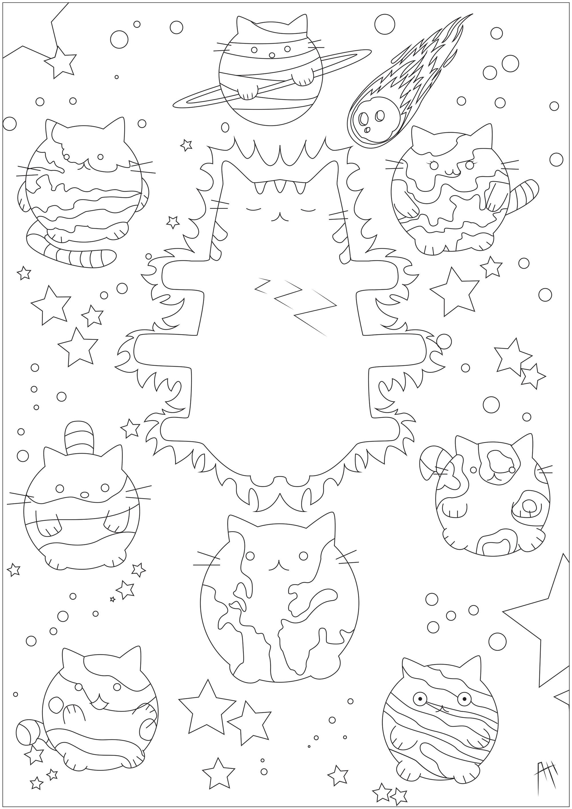 Système Solaire Pusheen Doodles Coloriages Difficiles Pour Adultes