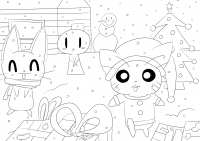 Coloriage adulte christmas in cartoon world