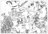 Coloriage adulte dessin Doodle nouveau monde par valentin
