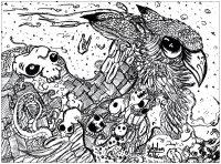 Coloriage adulte dessin Doodles hibou  par valentin