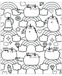 Coloriage chat pusheen et arc en ciel