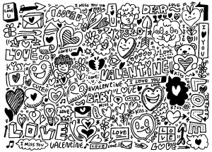 coloriage doodle amour saint valentin