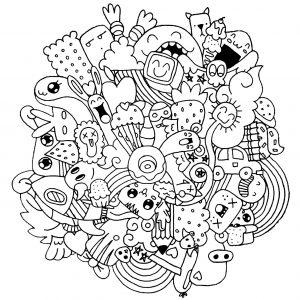 Doodle aux étranges créatures