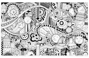 coloriage doodle drole de ville