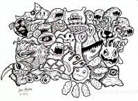 Coloriage doodle monstres par bon arts