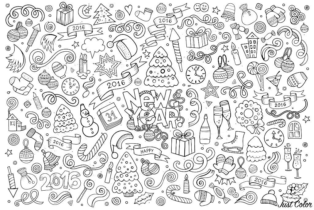 Doodle à colorier 'Bonne année 2016'