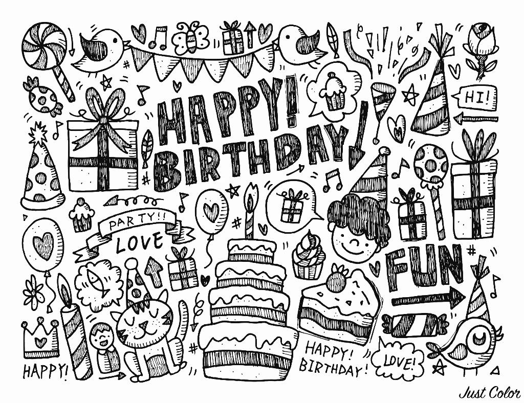 Doodle Joyeux Anniversaire Doodles Coloriages Difficiles Pour