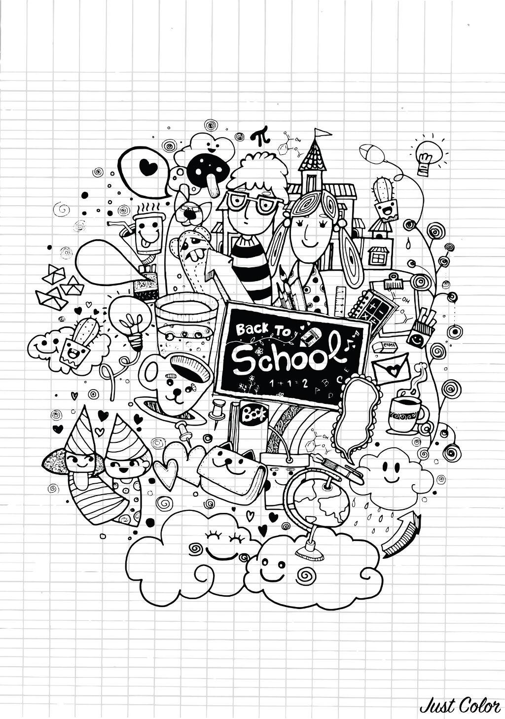 Coloriage A Imprimer Rentree Scolaire.Doodle Rentree Des Classes Sur Cahier Doodles Coloriages