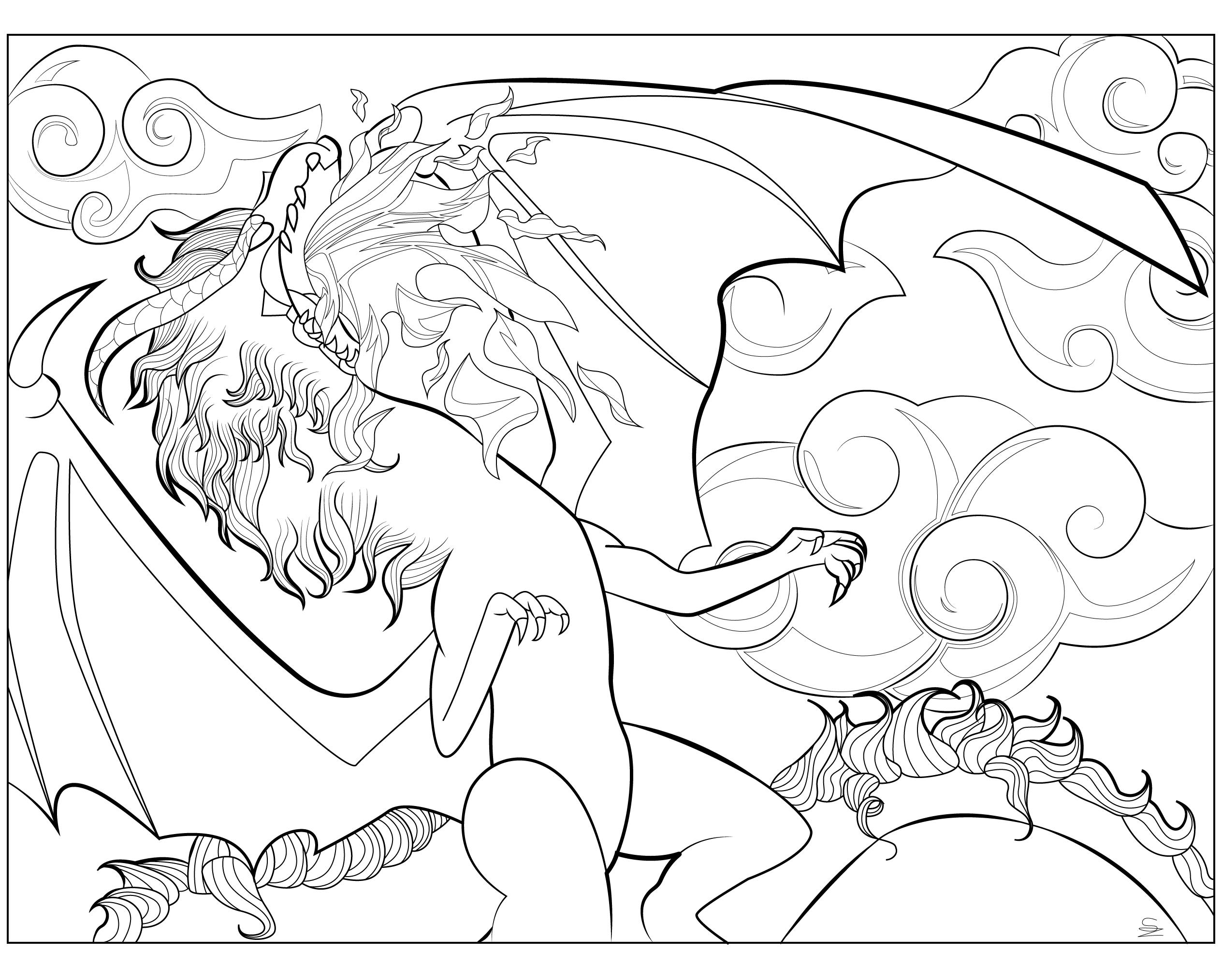 Coloriage d'un dragon majestueux et inspiré du Fatalis Blanc dans Monster Hunter