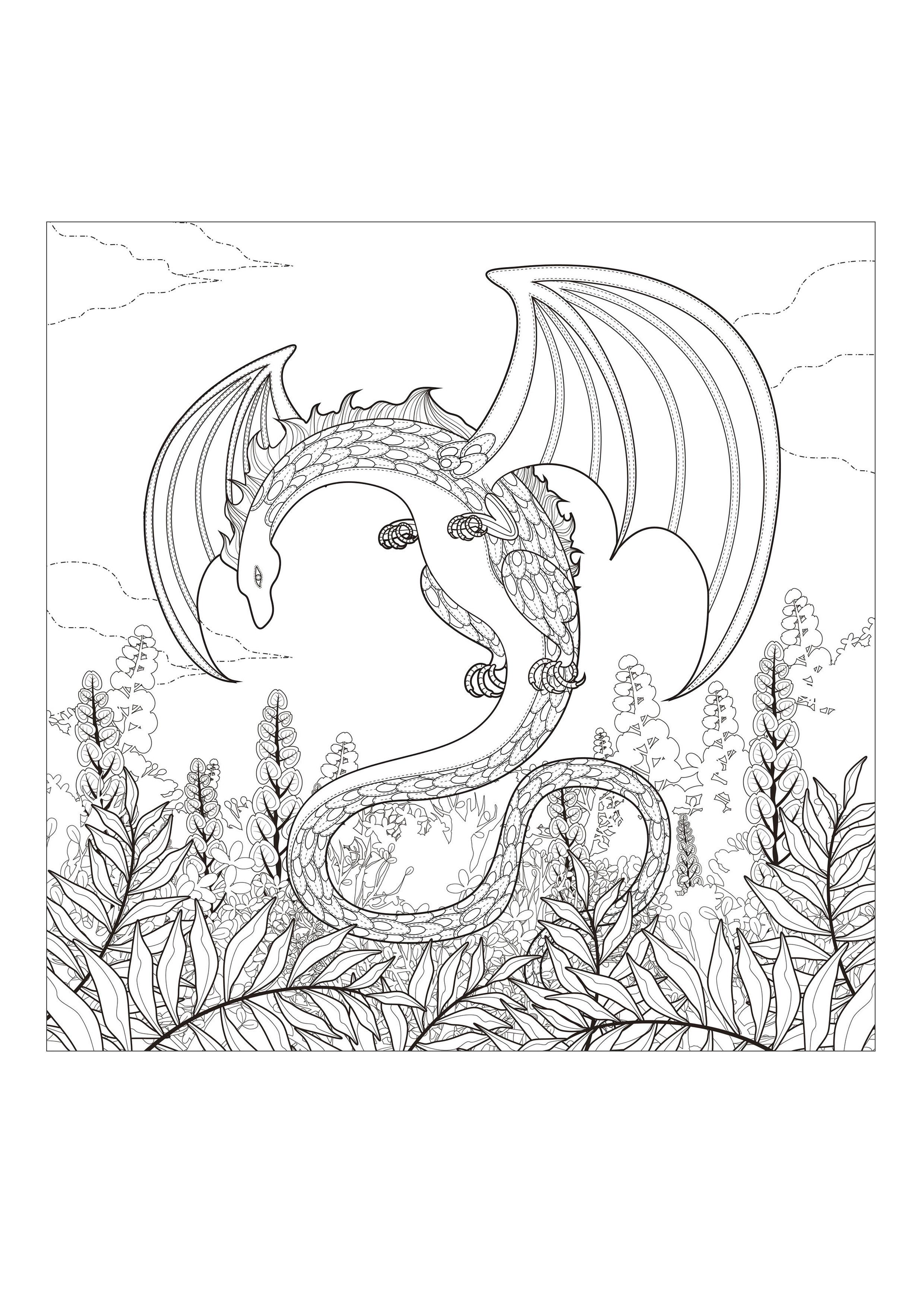 Coloriage Mandala Monstre.Monstre Dragon Dragons Coloriages Difficiles Pour Adultes