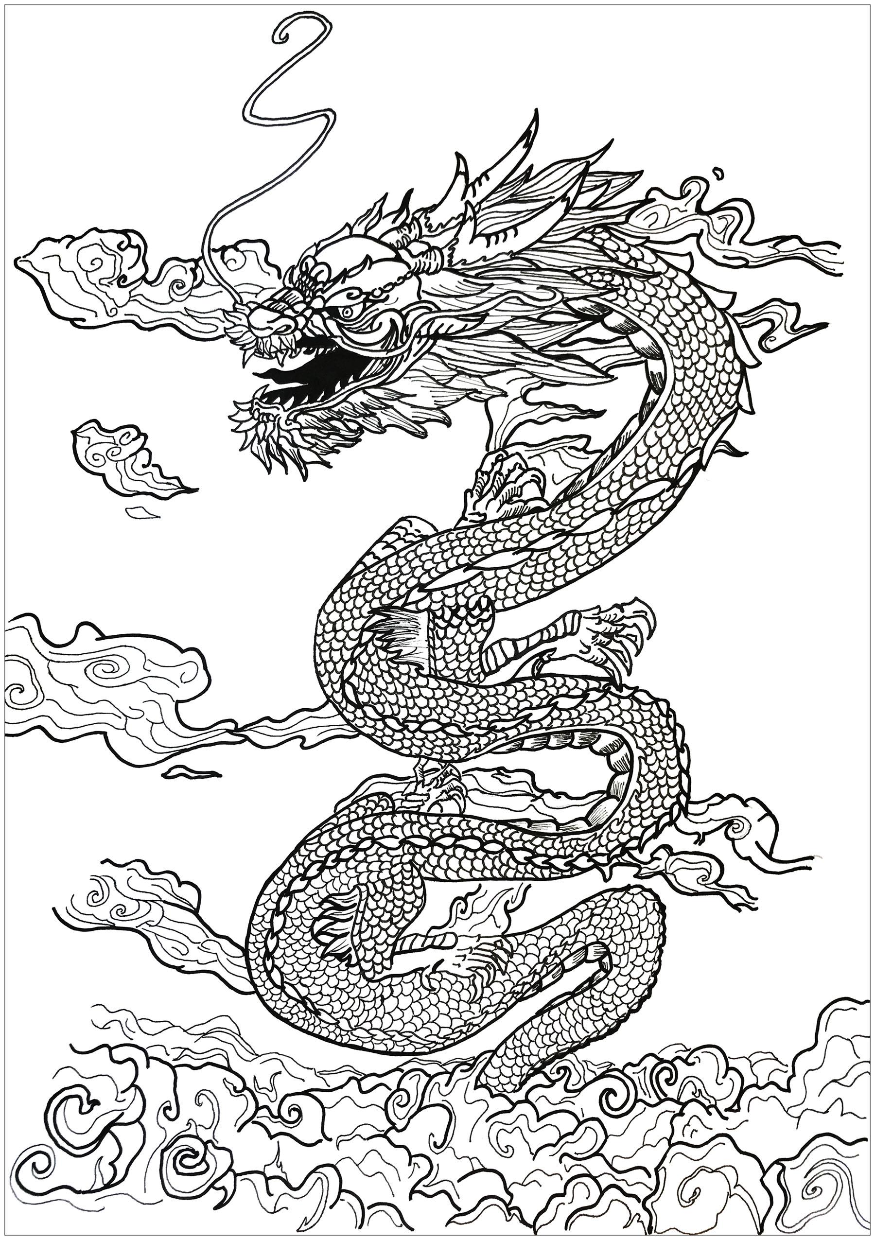 Un incroyable dragon se faufilant entre les nuages, par Alexis