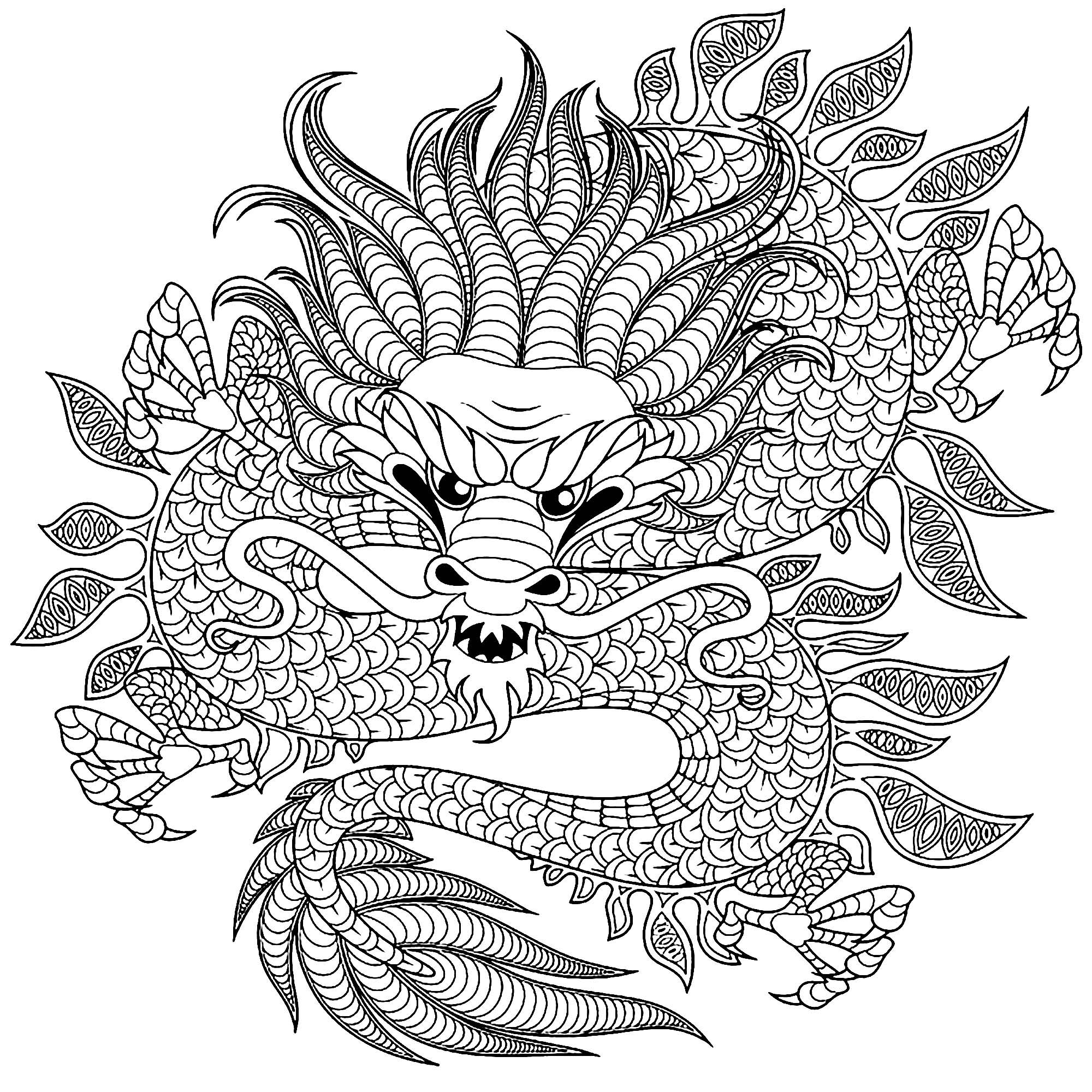 Dragon circulaire dragons coloriages difficiles pour - Coloriages de dragons ...
