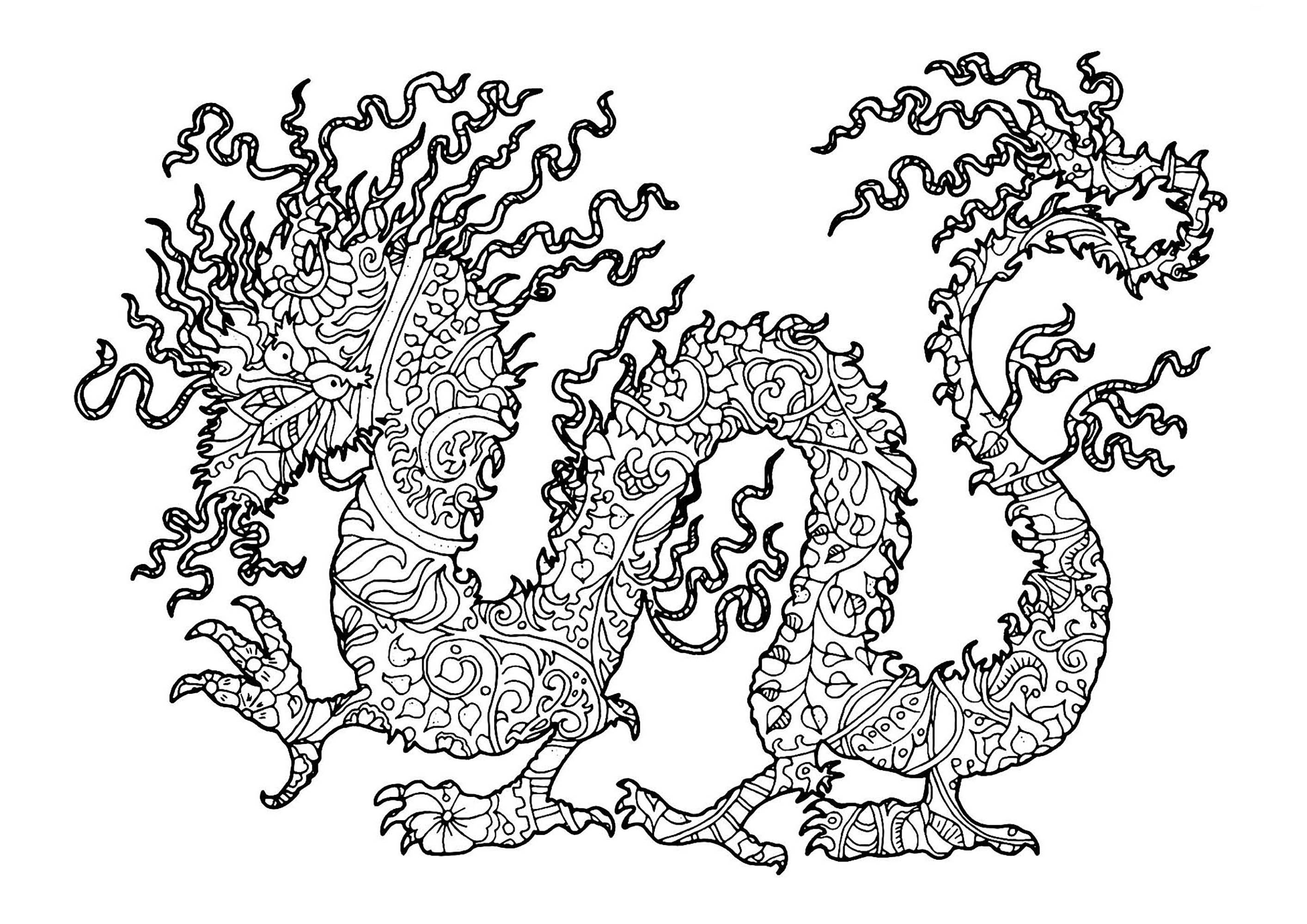 Dragon complexe dragons coloriages difficiles pour adultes - Coloriages de dragons ...