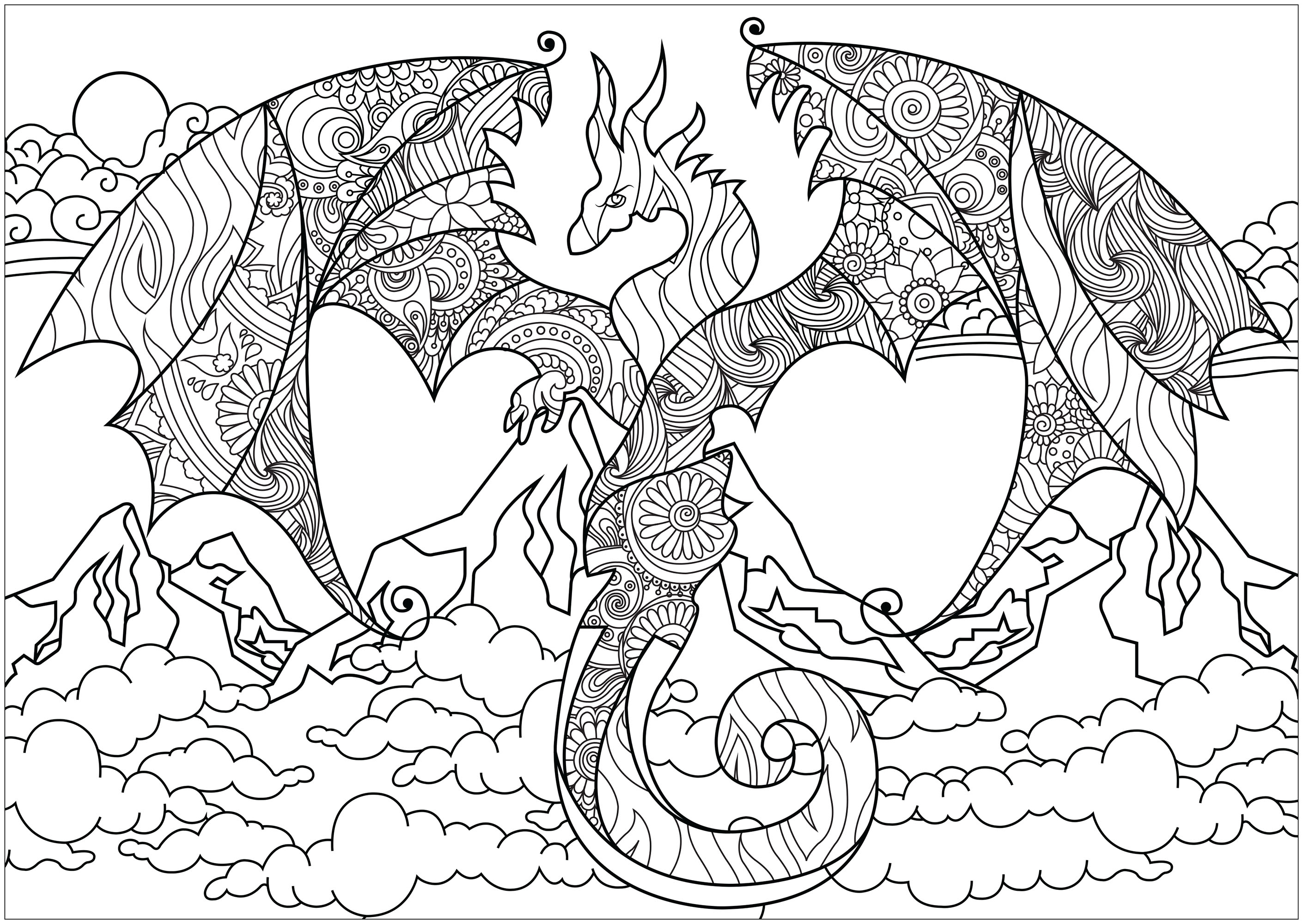 Dragon des montagnes dragons coloriages difficiles - Coloriages de dragons ...