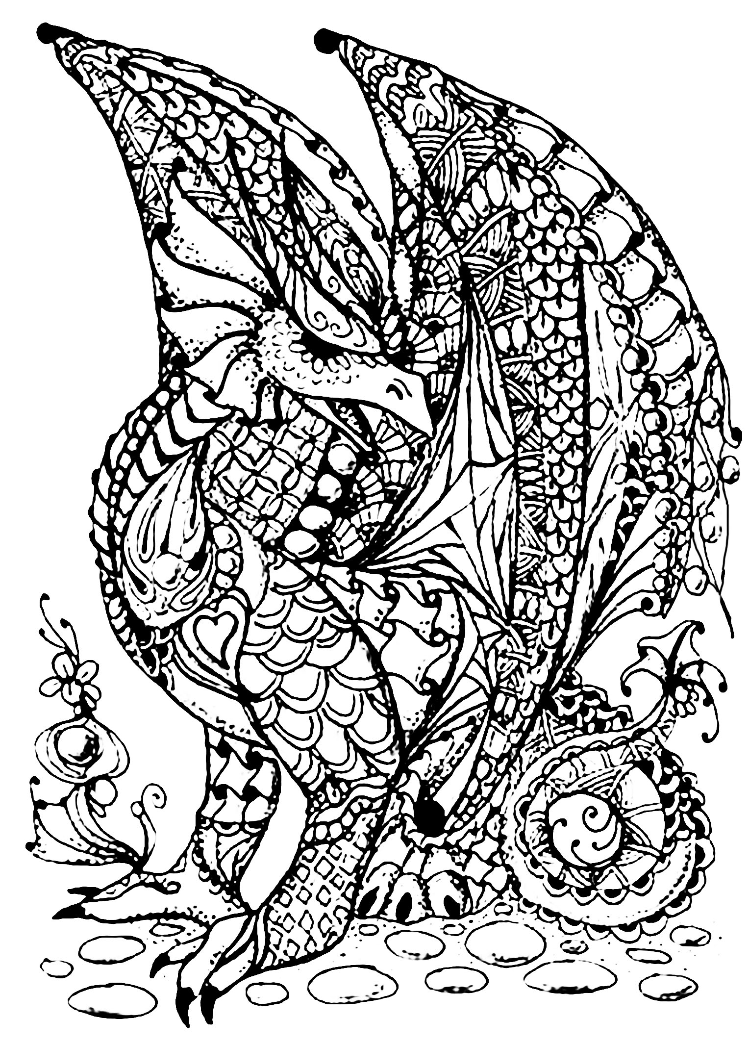 Dragon plein d ecailles dragons coloriages difficiles - Coloriages de dragons ...