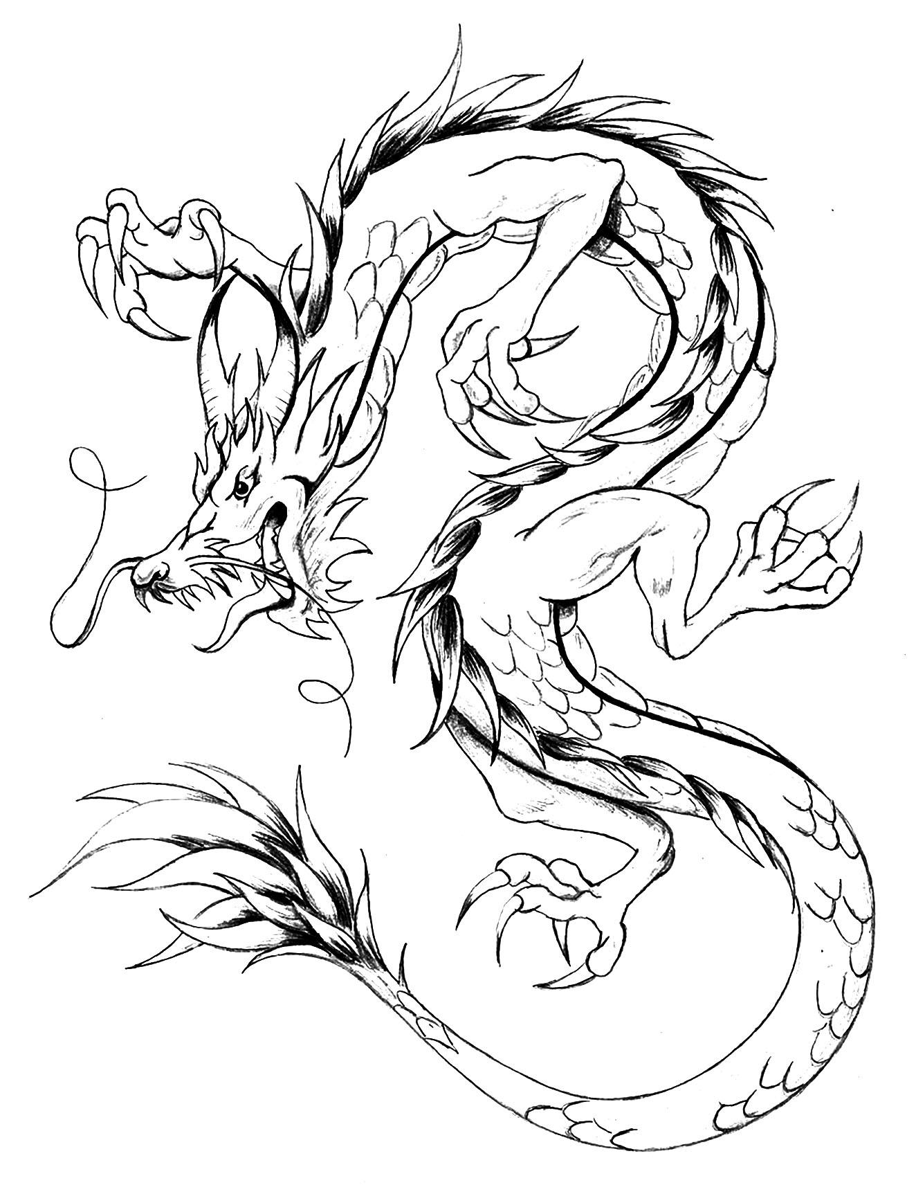 Dragon style asiatique - Dragons - Coloriages difficiles ...