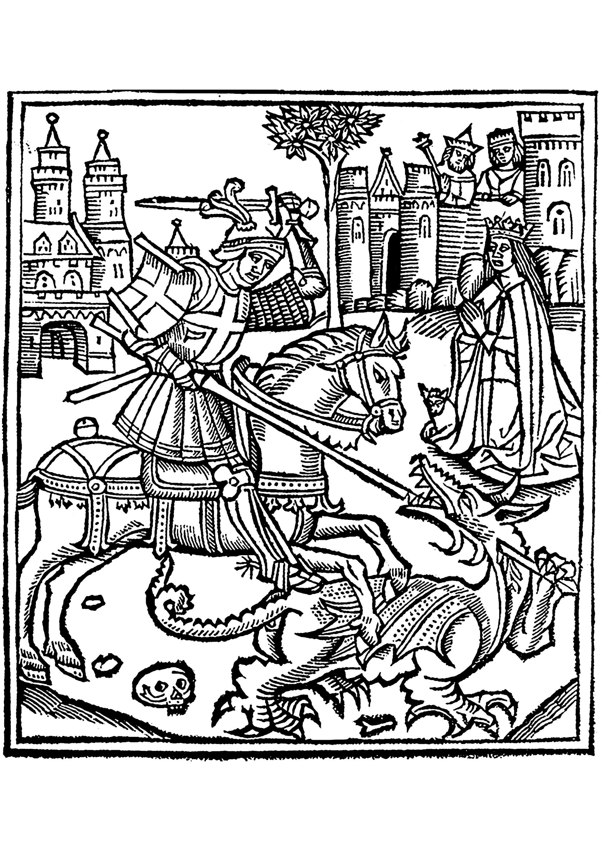 Coloriage créé à partir d'une gravure sur bois représentant St George terrassant le Dragon, illustration extraite de la Vie de Saint George (1515)