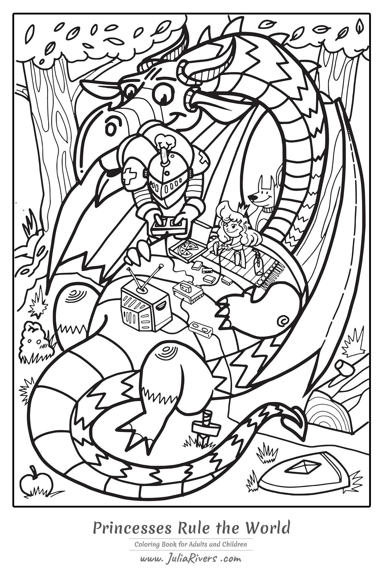 'Les Princesses dirigent le Monde' : un coloriage original représentant une princesse et un chevalier jouant aux jeux vidéos sur un sympathique dragon
