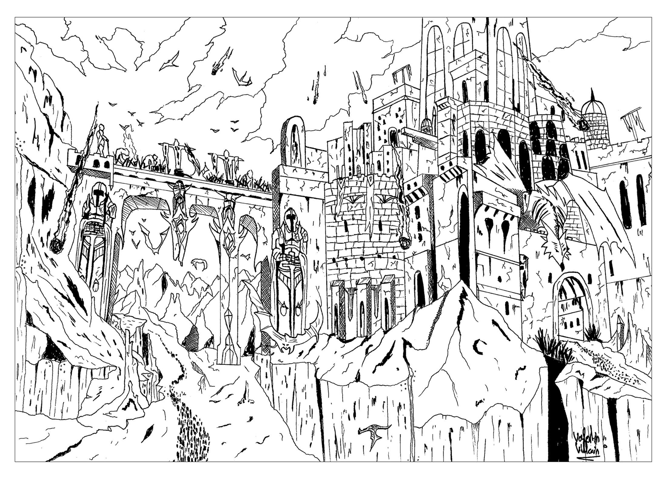 Coloriage d'une forteresse se faisant attaquer par des dragons