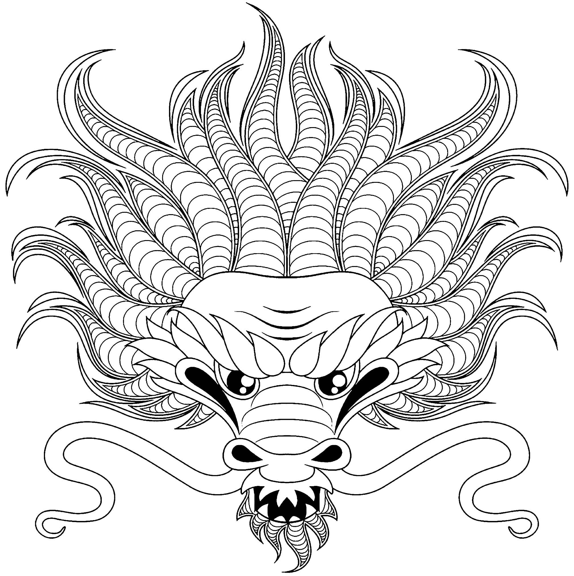 Tete de dragon style tatouage dragons coloriages difficiles pour adultes - Dragon japonais dessin ...