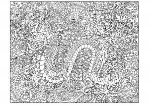 Coloriage dragon tres complexe