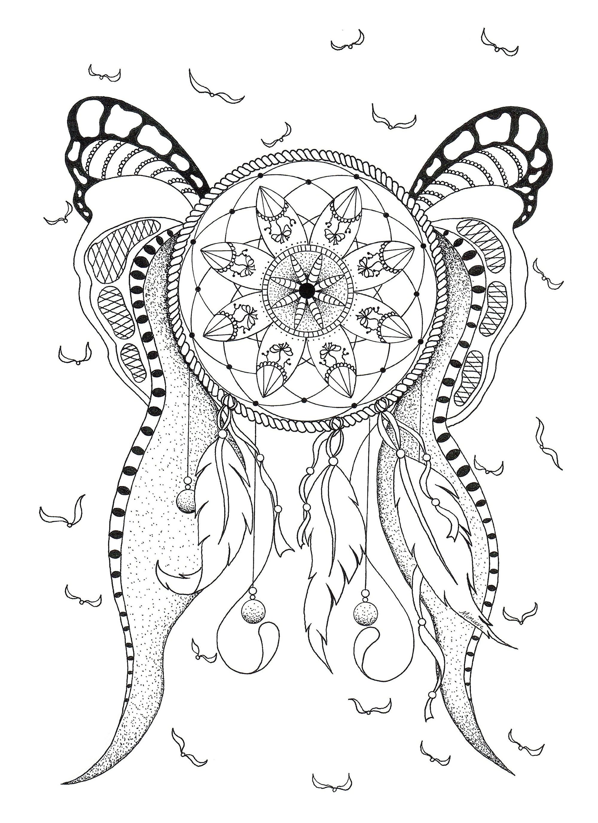 attrape reve attrape r ves dreamcatchers coloriages difficiles pour adultes. Black Bedroom Furniture Sets. Home Design Ideas
