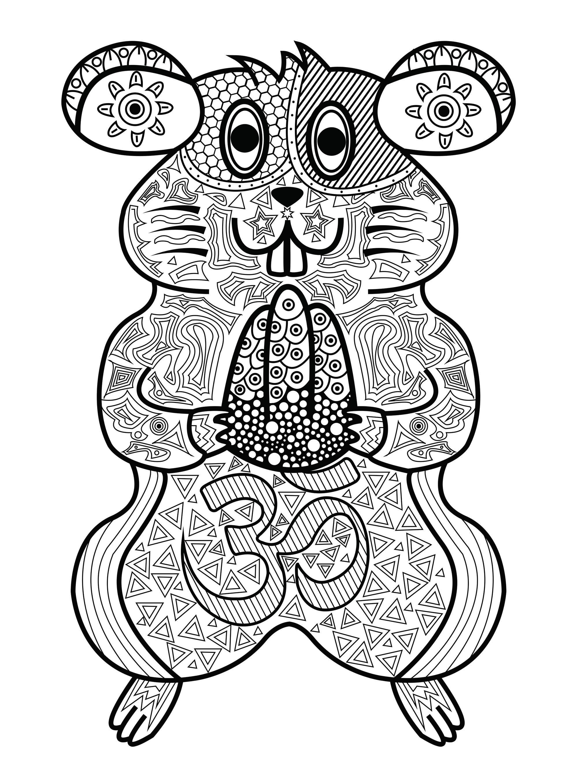 Joli hamster avec motifs à colorier