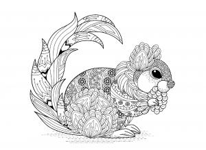Coloriage ecureuil avec motifs