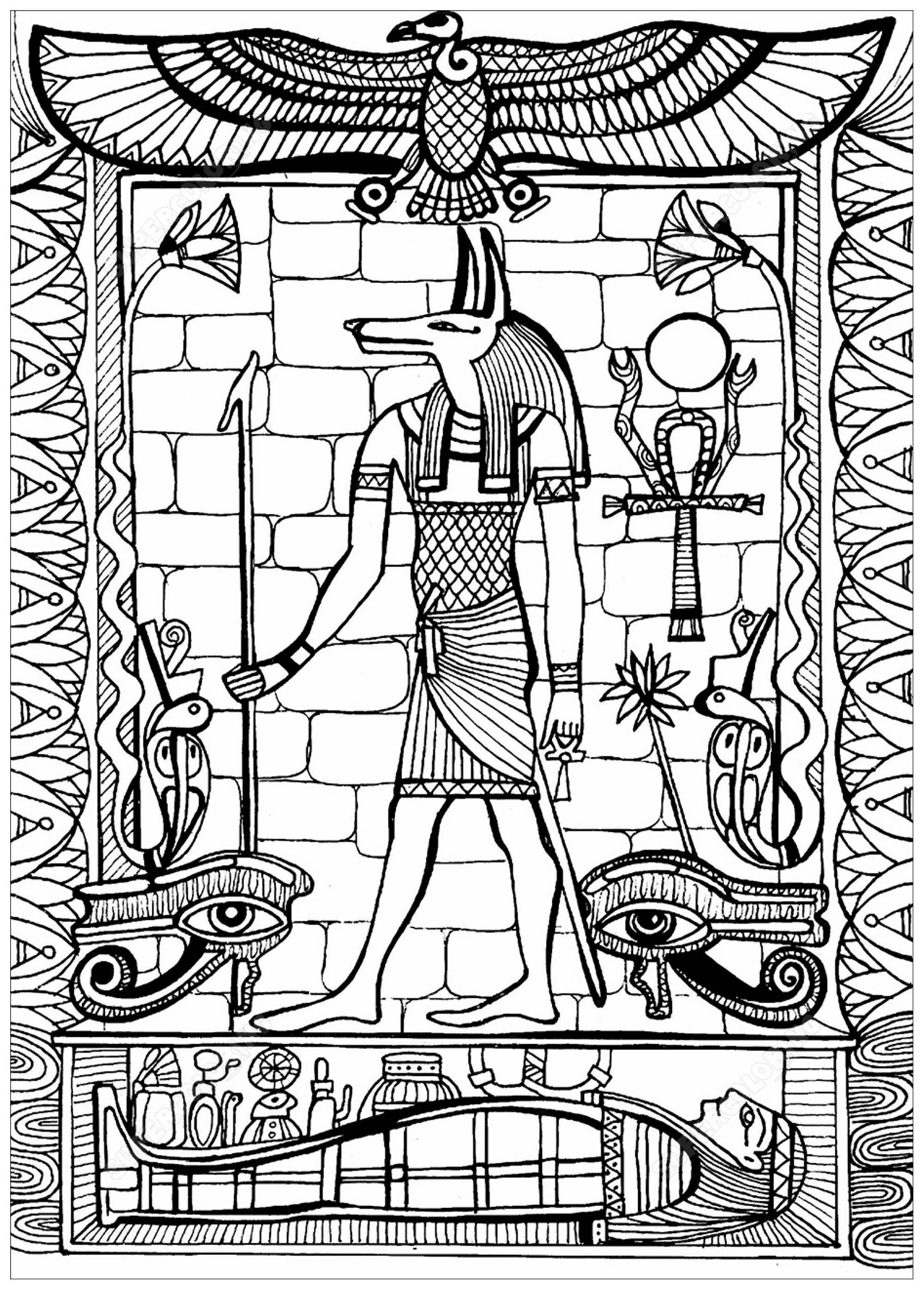 Coloriage A Imprimer Egypte Antique.Anubis Dieu De L Egypte Ancienne Egypte Coloriages