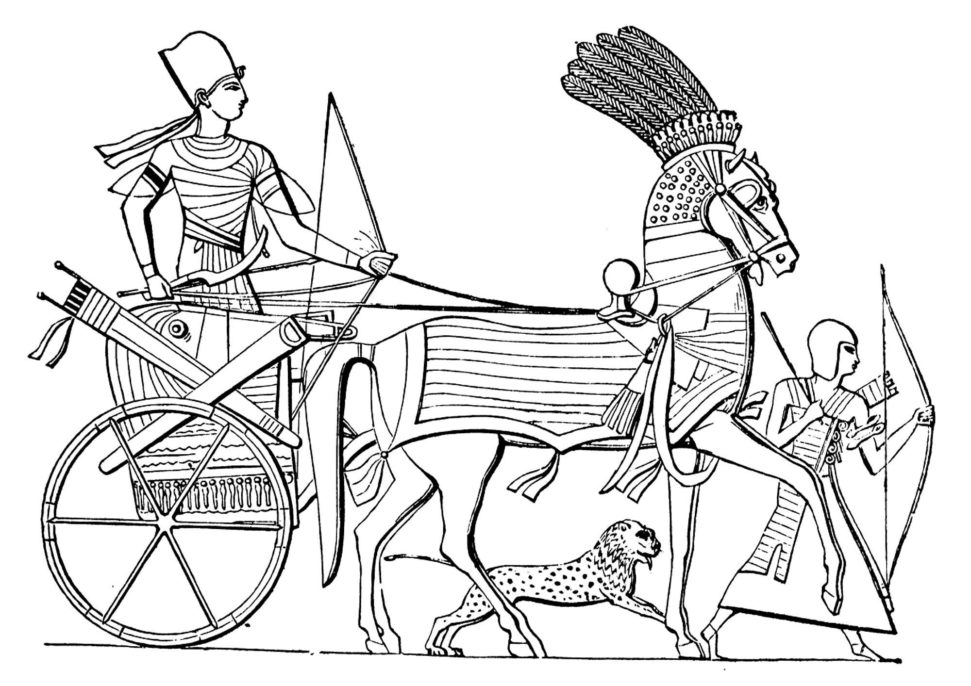 Coloriage A Imprimer Egypte Antique.Chariot Egypte Ancienne Egypte Coloriages Difficiles