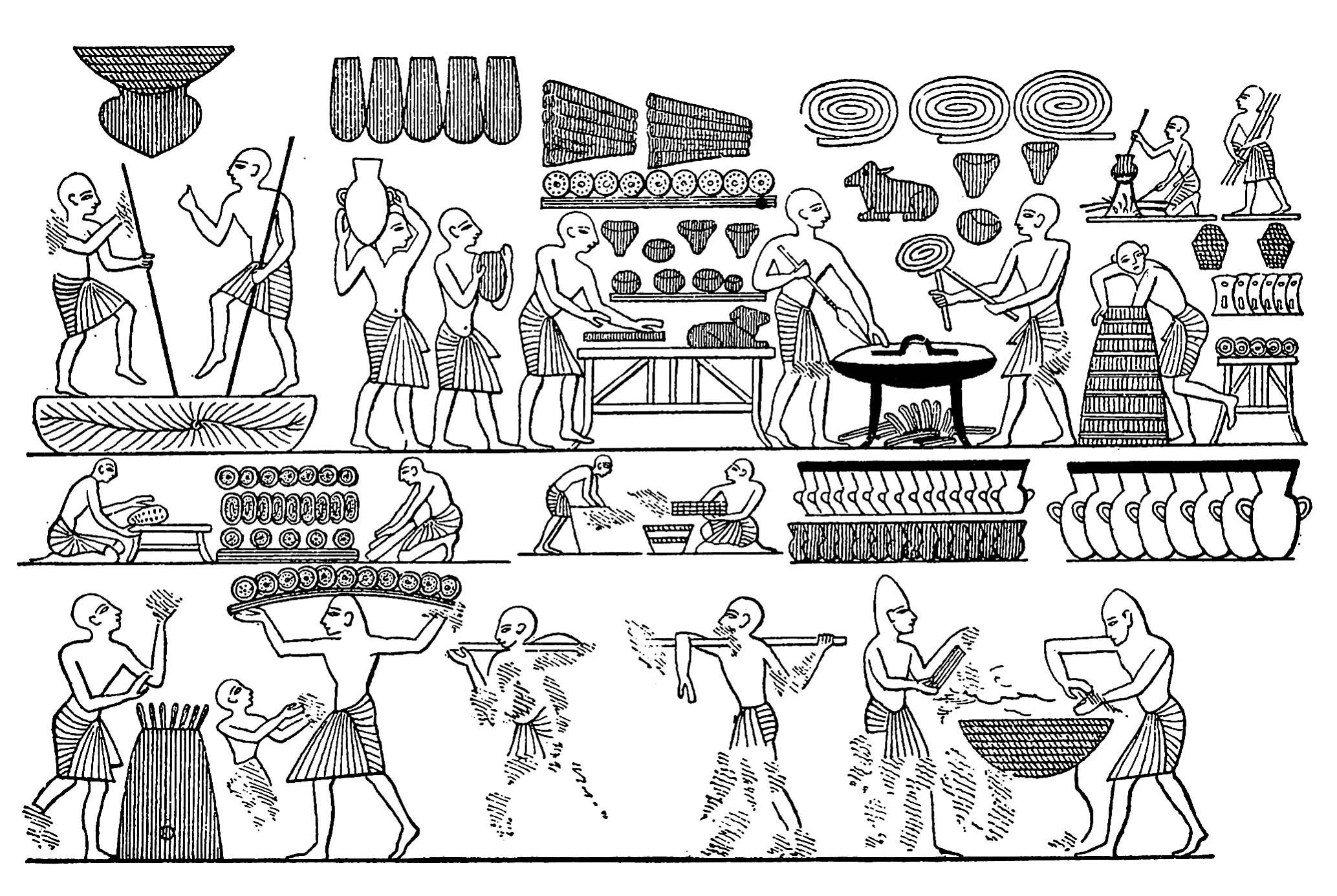 Dessin égyptien sur le thème de la cuisine, avec nombreux personnages en train de préparer du pain et autres mets d'époque. Un Coloriage très riche en détails