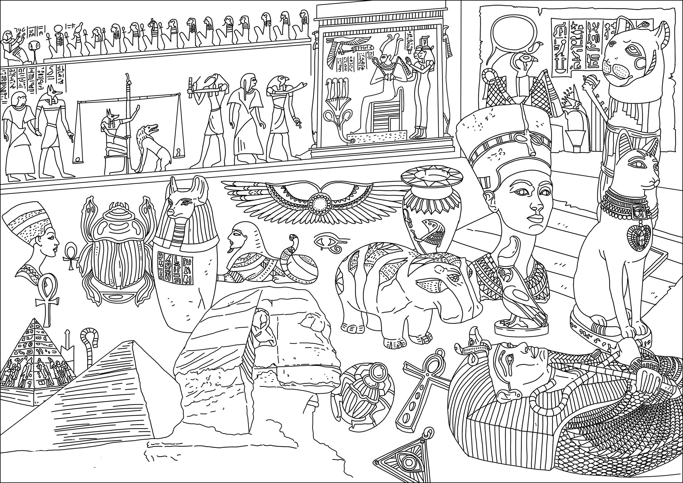 Différents symboles de l'Egypte. Sphynx, Pharaons, Hiéroglyphes, Amulette ...