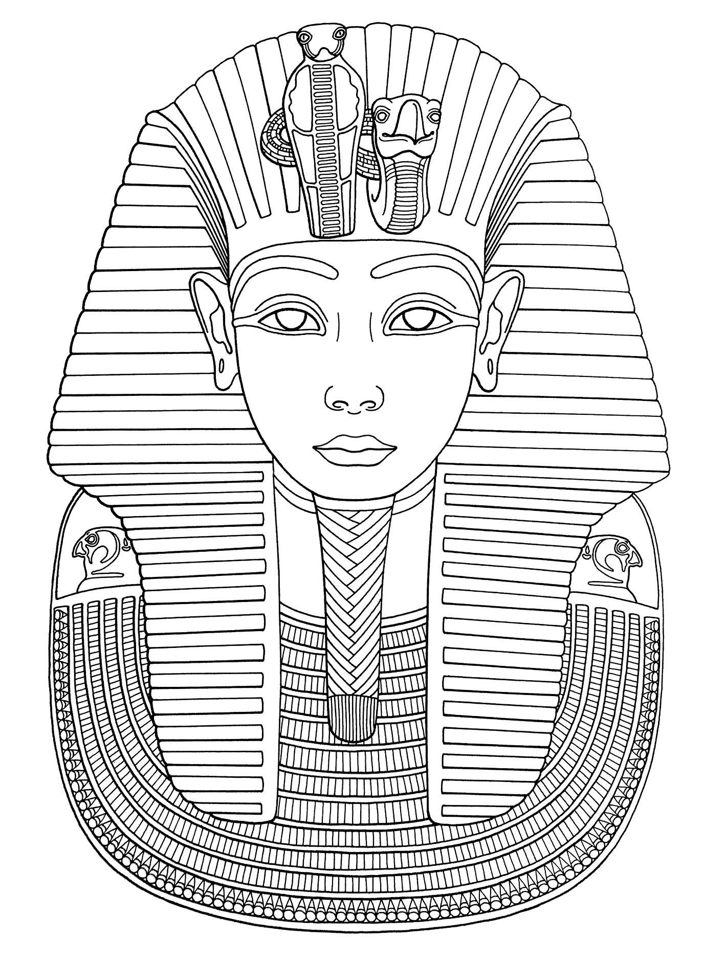 Le masque de Toutankhamon est un masque funéraire en or du pharaon égyptien Toutankhamon de la XVIIIe dynastie. Coloriez le !