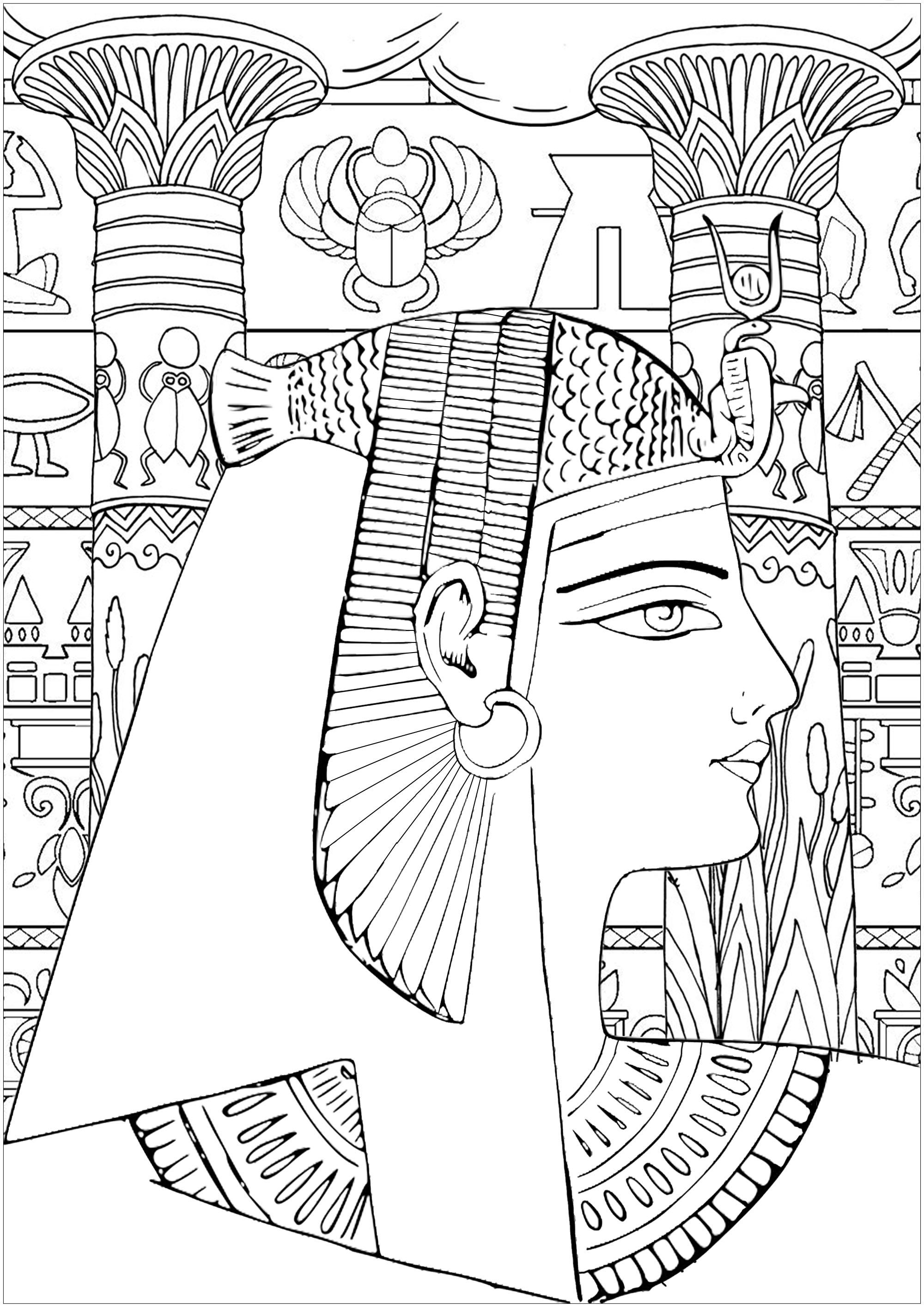 Coloriez cette reine d'Egypte, avec en fond de beaux piliers de temples et des hiéroglyphes. Version facile