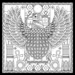 Coloriage adulte egypte aigle style egyptien avec symboles par kchung