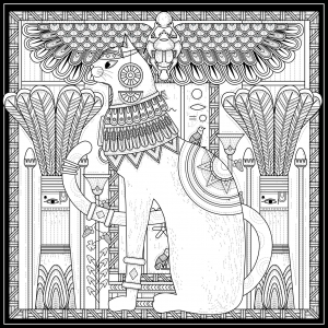 coloriage-adulte-egypte-chat-style-egyptien-et-symboles-par-kchung free to print