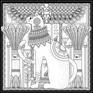 Coloriage adulte egypte chat style egyptien et symboles par kchung