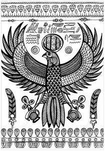 Coloriage horus dieu de l ancienne egypte represente comme un faucon
