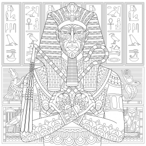 Coloriage pharaon ancienne egypte