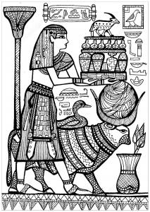 Coloriage pretre et animaux sacres de l ancienne egypte
