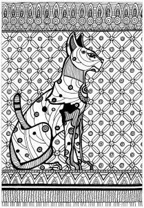 Coloriage sekhmet deesse guerriere de la guerison