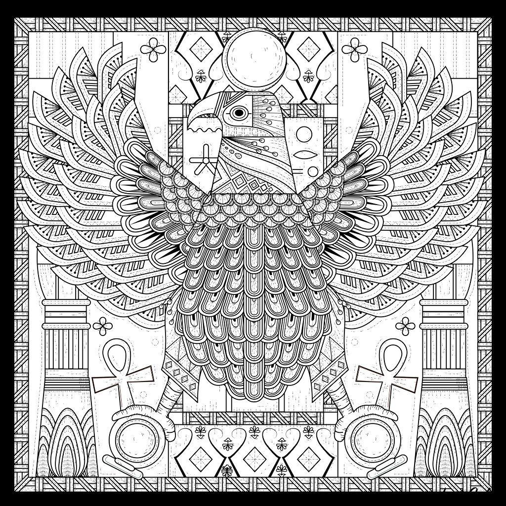 Coloriage complexe style égyptien d'un aigle, symbole d'unité