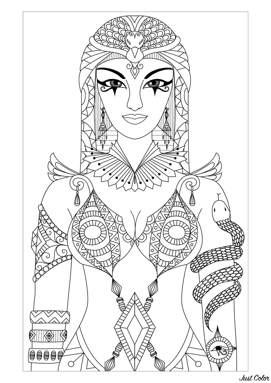 Magnifique dessin de Cléopâtre, reine d'Égypte antique