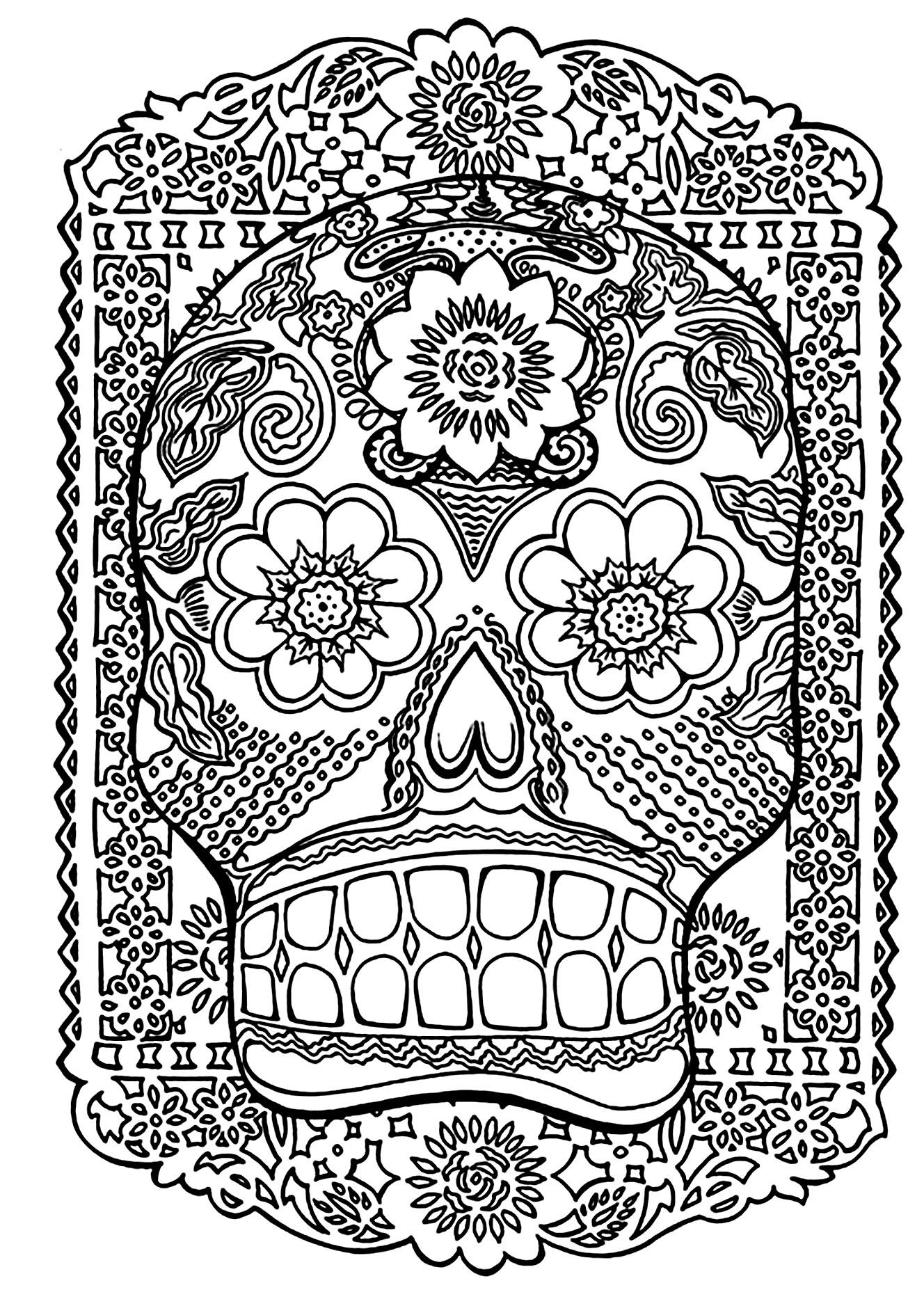 Coloriage complexe d'un crâne décoré pour la Fête des morts