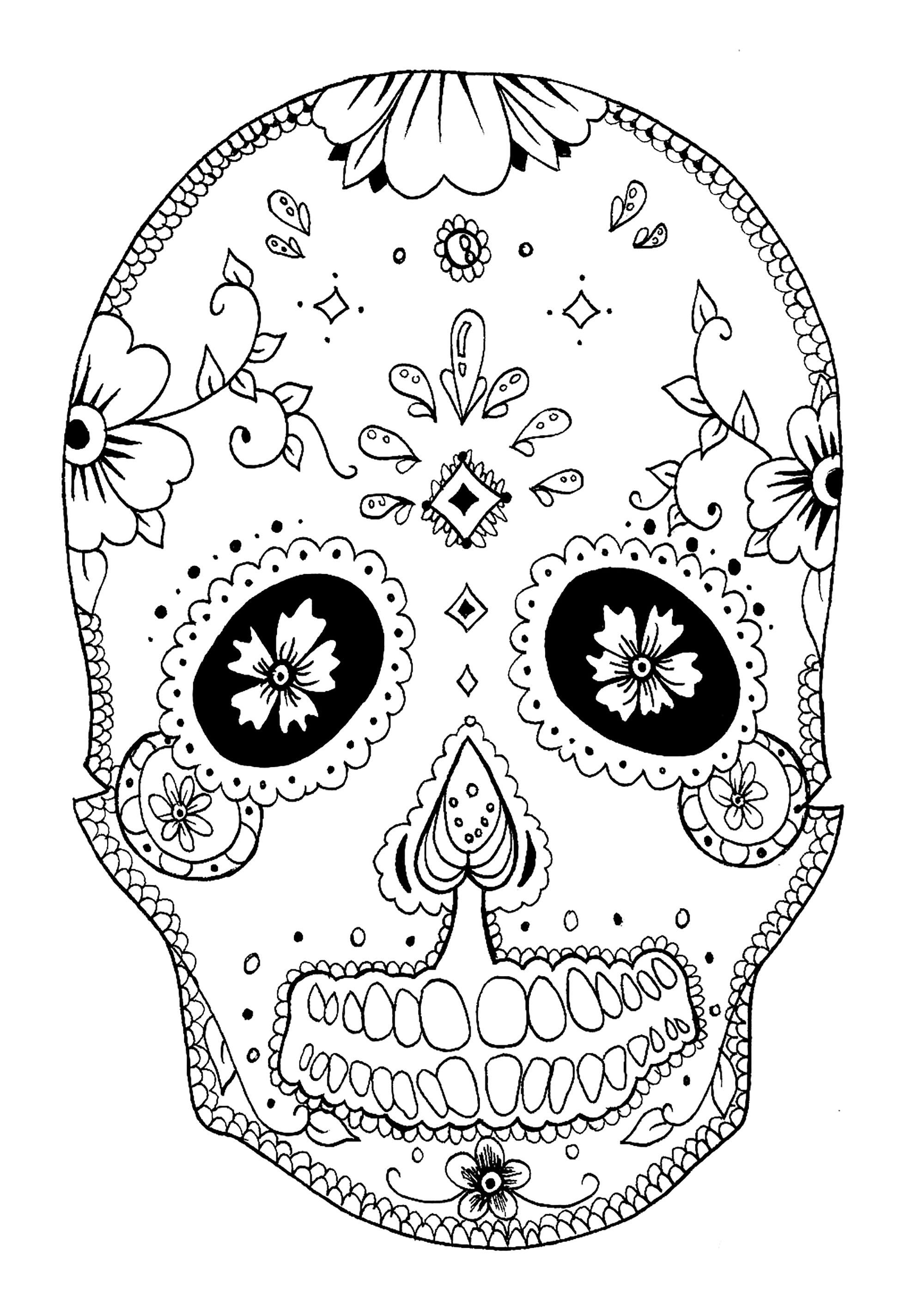 El Día de los Muertos : Dessin d'un crâne décoré à colorier