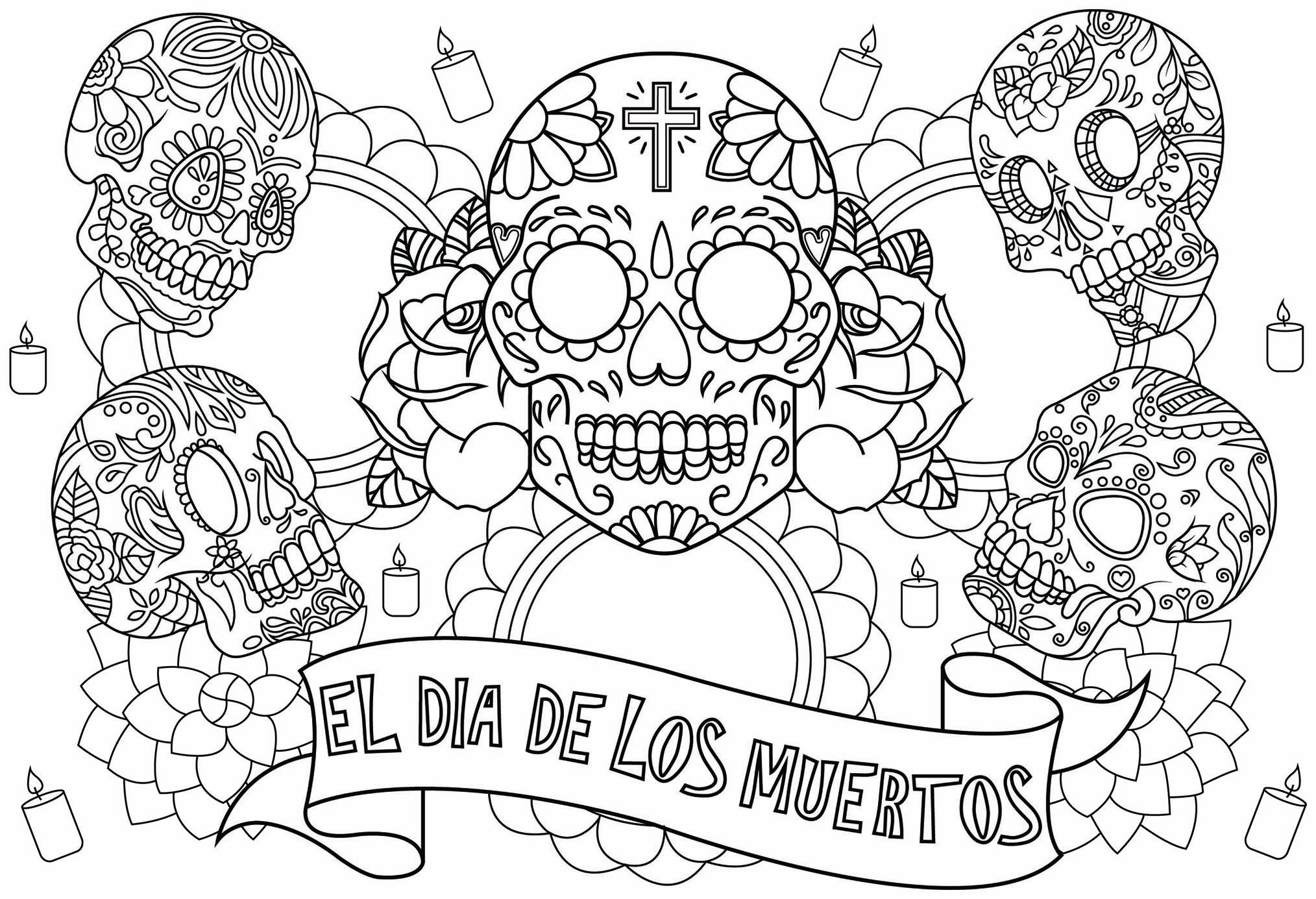 Coloriage pour célébrer 'El Día de los muertos' la célèbre fête mexicaine, avec cinq crânes