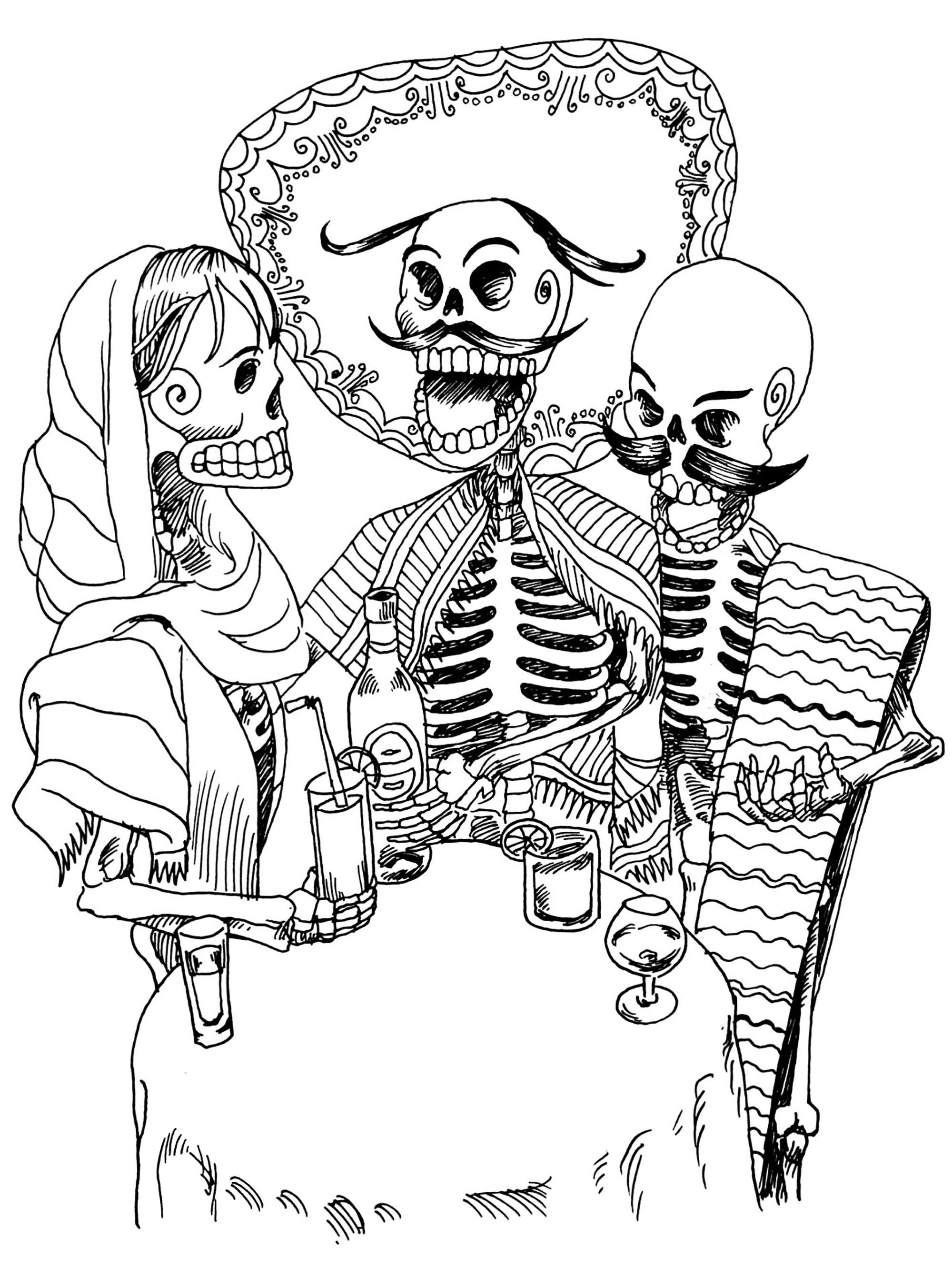 El dia de los muertos squelettes el dia de los muertos - Coloriage squelette halloween ...