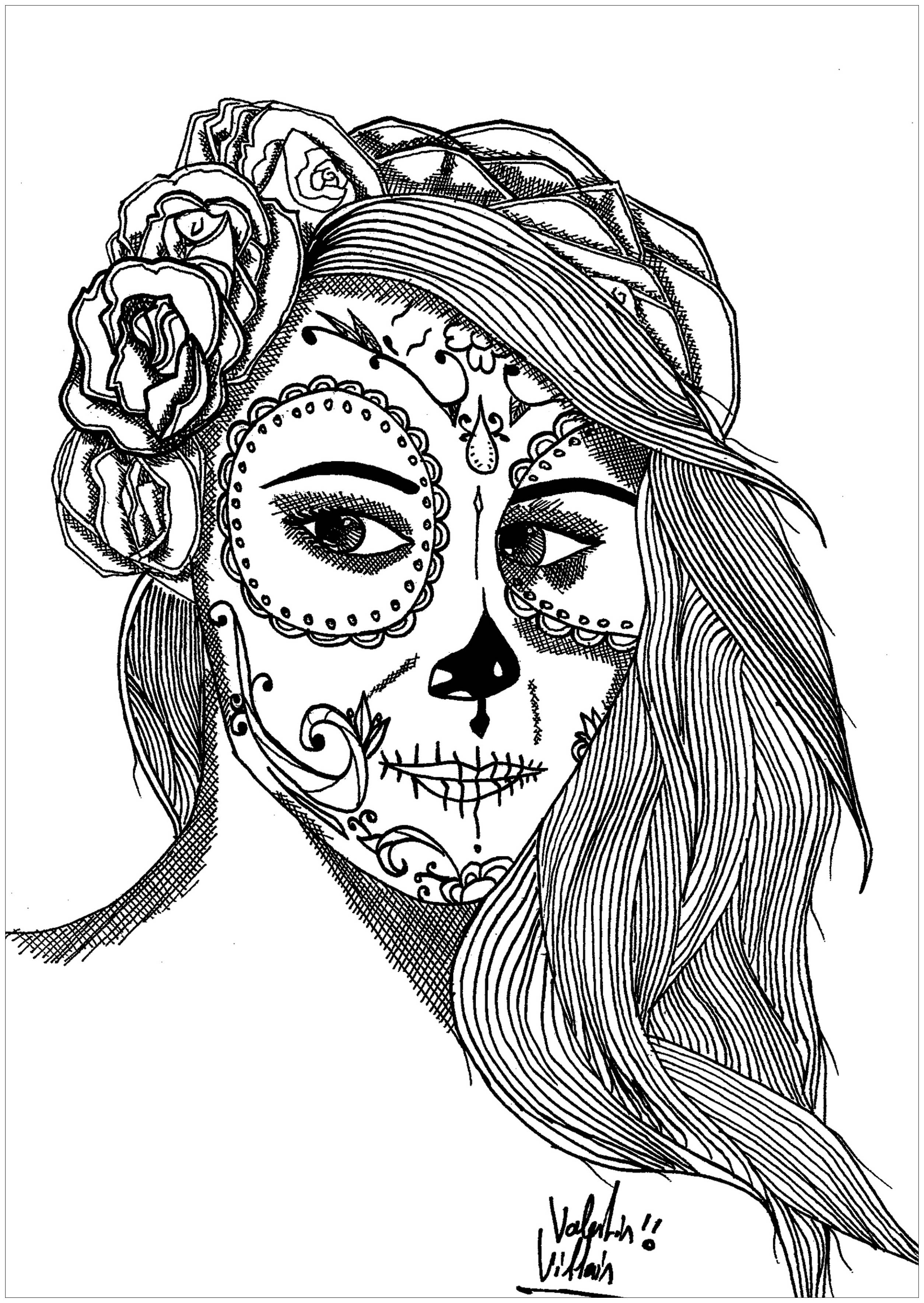 Coloriage d'une femme inspirée du maquillage de la fête Mexicaine 'Dias de los Muertos'